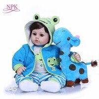 NPK 47CM Newborn Reborn Baby Dolls Silicone Soft Cloth Body toddler Doll For Girls Princess Kid Fashion Bebes Reborn Dolls