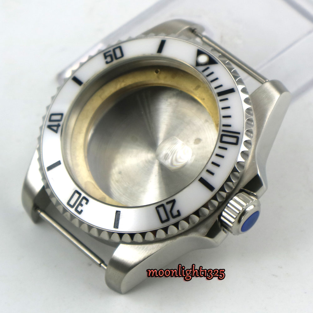 лучшая цена 43mm sapphire glass stainless steel Watch Case fit ETA 2824 2836 8215 MOVEMENT
