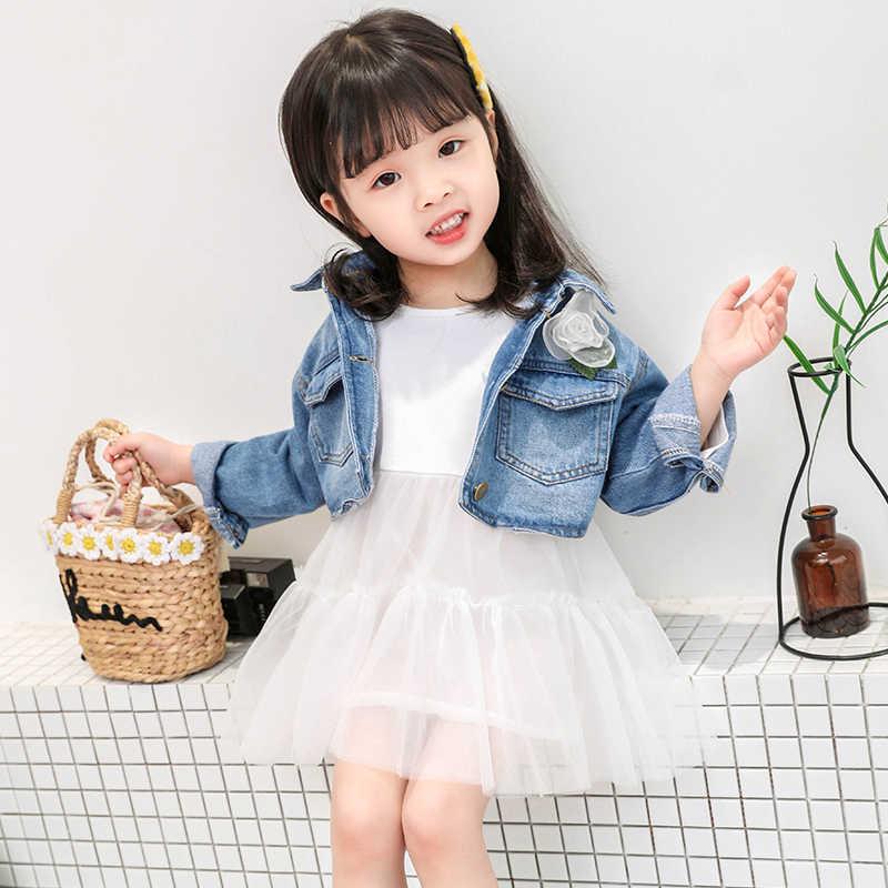 Комплекты из 2 предметов для маленьких девочек 1-5 лет, джинсовая куртка с большим карманом и цветочным принтом + газовое платье, подарок для девочек, повседневная куртка + мини-платье
