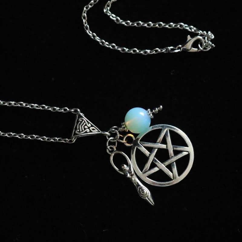 Espiral deusa da fertilidade Pentagrama Colar Charms Pendant & Colar Cadeia Bruxa Wicca Pagan Pentagrama Gótico Jóias Vintage