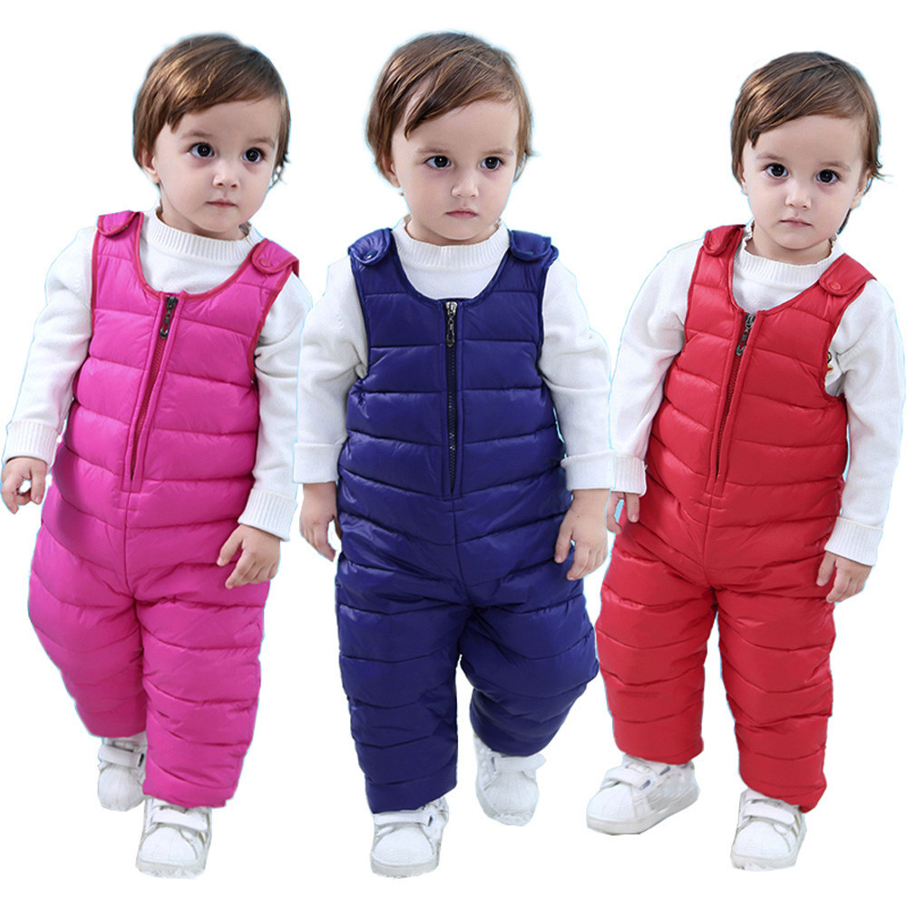 Winter Baby Girls Boys Kids thin zipper warm White Duck down jacket Coat Children Clothe Sleeveless Jumpsuit romper high quality