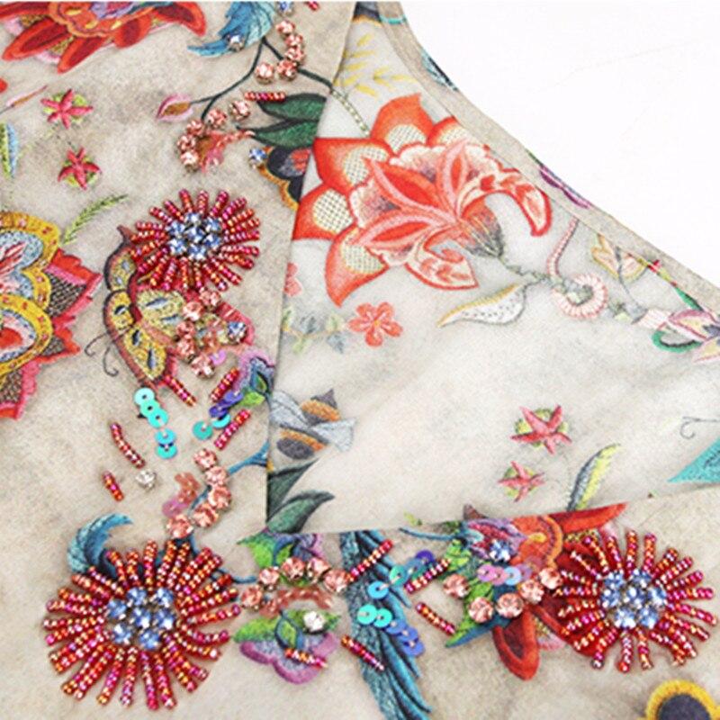 Tcyeek Seide Lange Sommer Kleid Frauen Drucken Floral Kleider Elegante Strand Party Kleid V Neck Kleider Vestidos Verano 2019 LWL1544 - 5