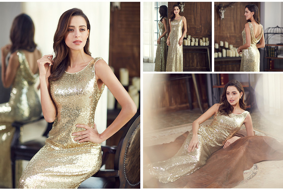 Gold Long Evening Dress Ever Pretty Back Cowl Neck EP07110GD Shine Sequin Sparkle Elegant Women 2017 Evening Party Gown 12