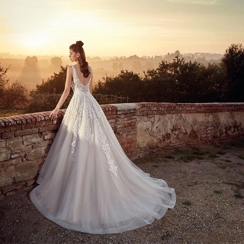 New Eddy K 2019 A Line Wedding Dresses Vintage V Neck