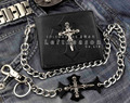 Skull Cross Mens Leather Bifold ID Card Money Wallet W/ Jeans Chain
