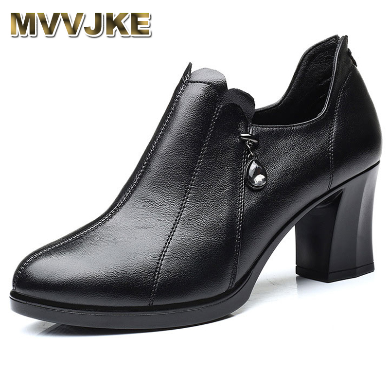 MVVJKE Autumn New Fashion Genuine Leather Shoes Women's Pumps High Heel Thick With Deep Mouth Wild Professional Work Shoes E040