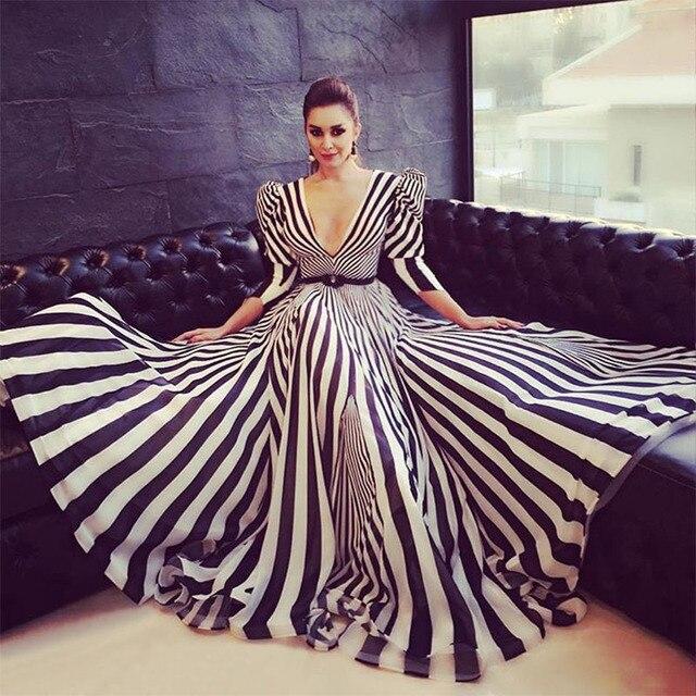 813372ae7fa35 شيك زيبرا نمط الأزياء العربي الرسمي سهره فساتين سهرة 2017 نصف كم ديب الخامس  عنق طويل