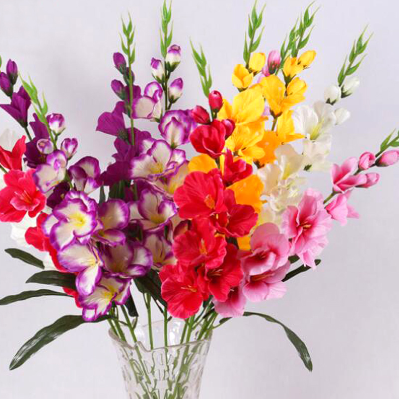 10 Pcs Artificial Real Touch Gladiolus Flowers Home Crafts Decor
