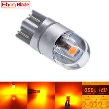 2/4 個 T10 W5W 5w5 LED 電球 3030 SMD t 10 168 カーアクセサリークリアランスライト読書ランプオート 12 12v アンバー黄色オレンジモーター