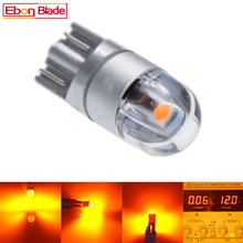 Lâmpada de led t10 w5w 5w5, 2/4 smd t 10 3030, acessórios para carro, lâmpada de leitura automática 12 motor do âmbar amarelo laranja