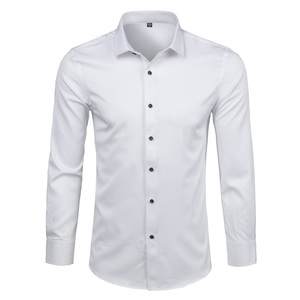 Image 4 - Mens Bamboo Fiber Dress Shirts Casual Slim Fit Long Sleeve Chemise Homme Formal Office Wear Elastic Social Shirts Purple 4XL
