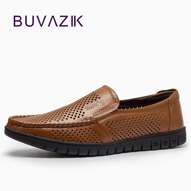 Men's Genuine Leather and Non-Slip Rubber Relaxed Fit Breathable Inner Slip-On