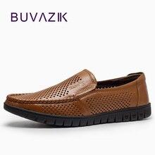 Summer fashion hollow casuales de cuero genuino transpirable zapatos de los hombres para 2017 cómodo suave de los holgazanes slip-en los zapatos casuales
