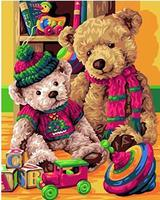 MaHuaf-W861 Teddy Bears coloring by numbers wall art pictures for living room diy oil canvas painting cuadros paintings