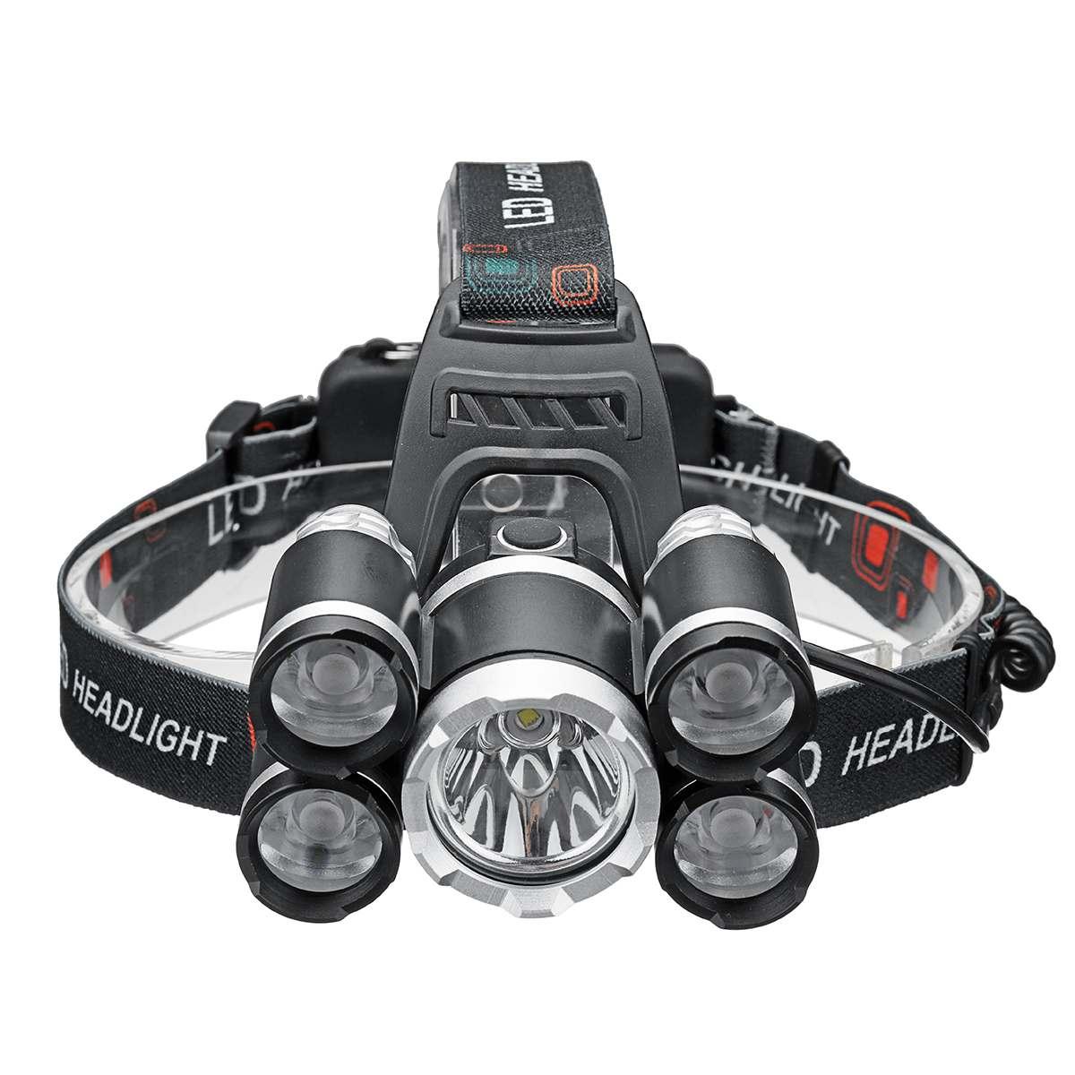 Clearance Black Headlight 50000lm 5*T6 LED Head Lamp Fishing Flashlight Torch Head Light Portable Camping Lantern