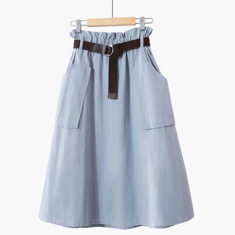 Azul De Señoras blanco Cintura 2019 Faldas Vintage Alta Llanura Playa Casual Verano azul Red Apricot rust Falda verde Aline Ol Coreano Preppy Simple Elegante Femenina negro FqwZCqzxY