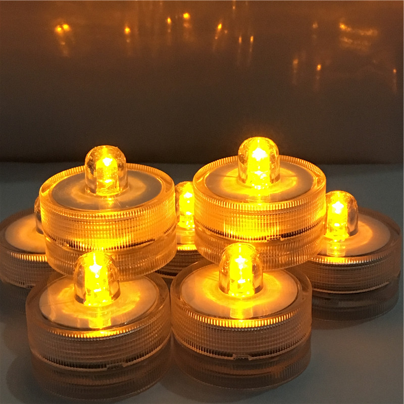 Pack of 12 Amber Underwater LED Submersible Waterproof LED Lights Batteries Tea Light Candle for Wedding Party Decoration image