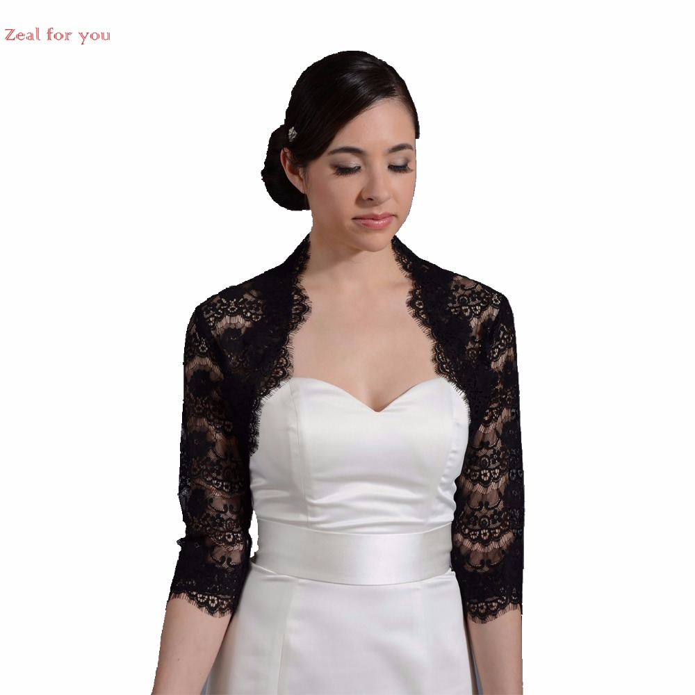 Buy evening capes lace bolero jackets for for Black lace jacket for wedding dress