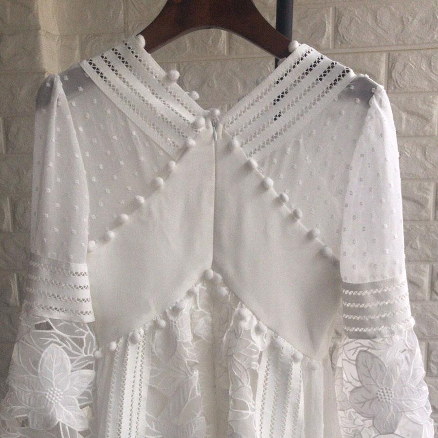 Marque de luxe 2018 haute qualité femmes blanc robe à manches longues Boho dentelle motif évider robe robes col en v dame Mini-robe - 5