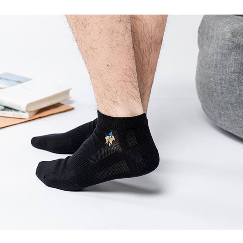 Image 3 - 10 pairs/lot Summer Style Cotton Mesh Short Socks For Men LOGO Embroidery High Quality Business Leisure Sports Male Socks Size-in Men's Socks from Underwear & Sleepwears