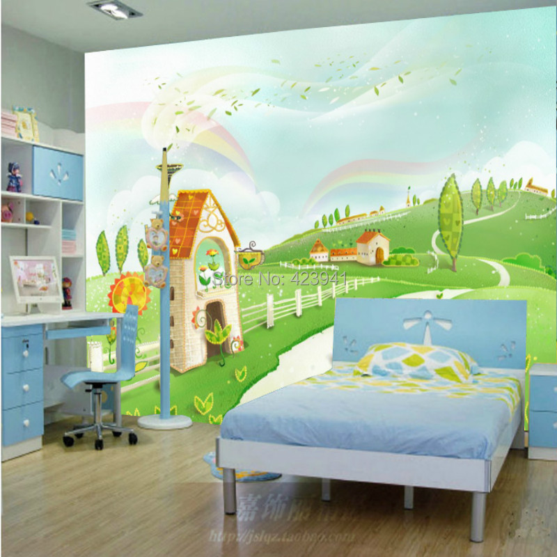 US $108 0 |Can be customized baby 3D large Mural modern child kids room  cartoon personalized fabric wallpaper room wall art wall stickers-in