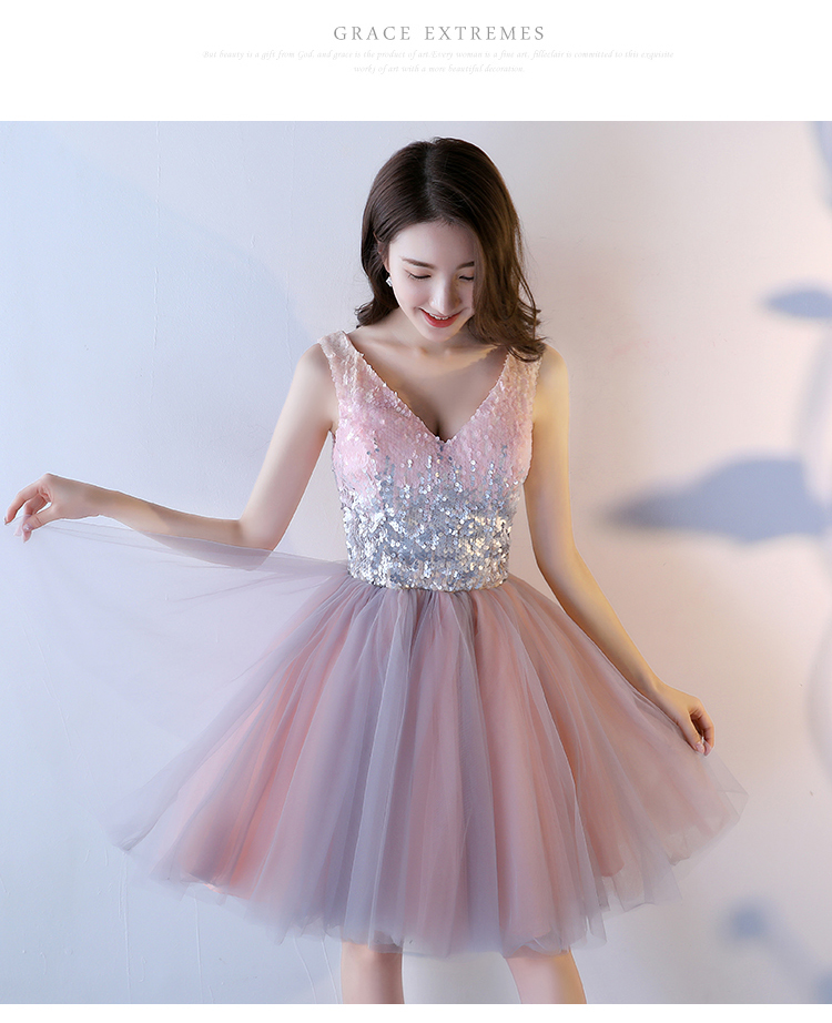 Pink A-Line Sequined Knee-Length Princess Bridesmaid Dress 4