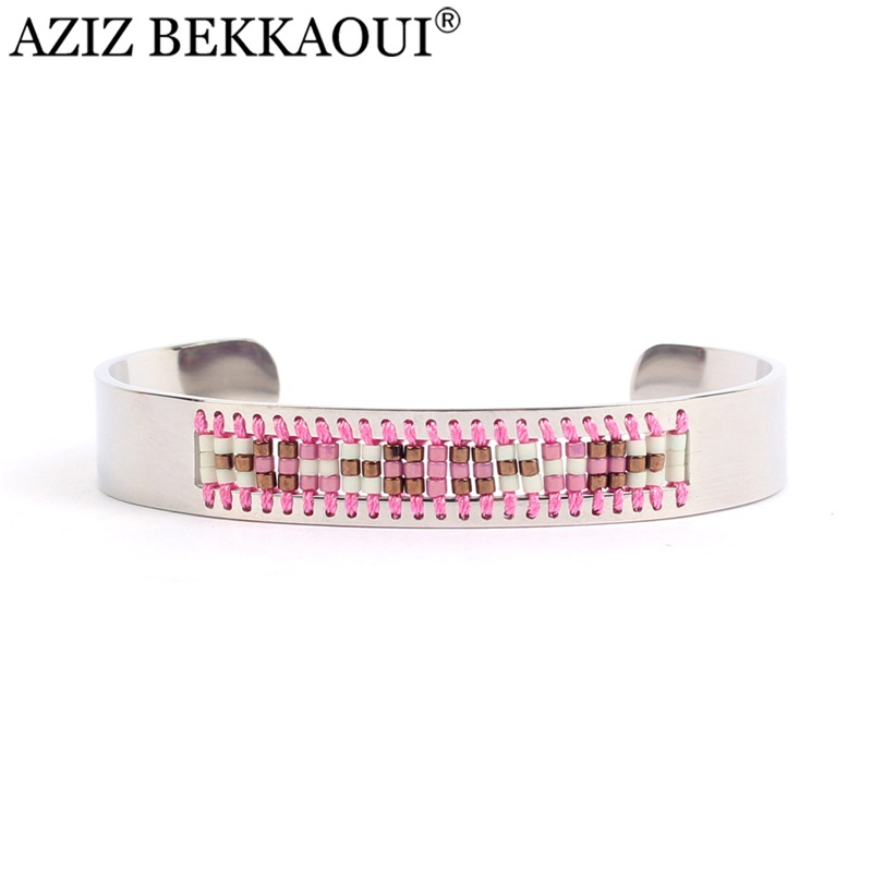 AZIZ BEKKAOUI New Pink Weaving Bangles&Bracelets for Women Stainless Steel Cuff Bangle Friendship Bohemia Fashion Jewelry