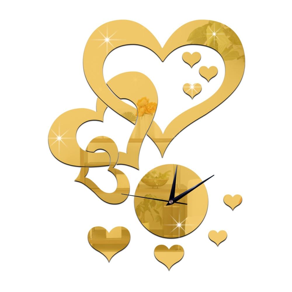 Romantic Wedding Decoration Mirror Clock DIY Heart Decal Wall Clock Removable Vinyl Art Wall Sticker Decor Fall In Love Gift