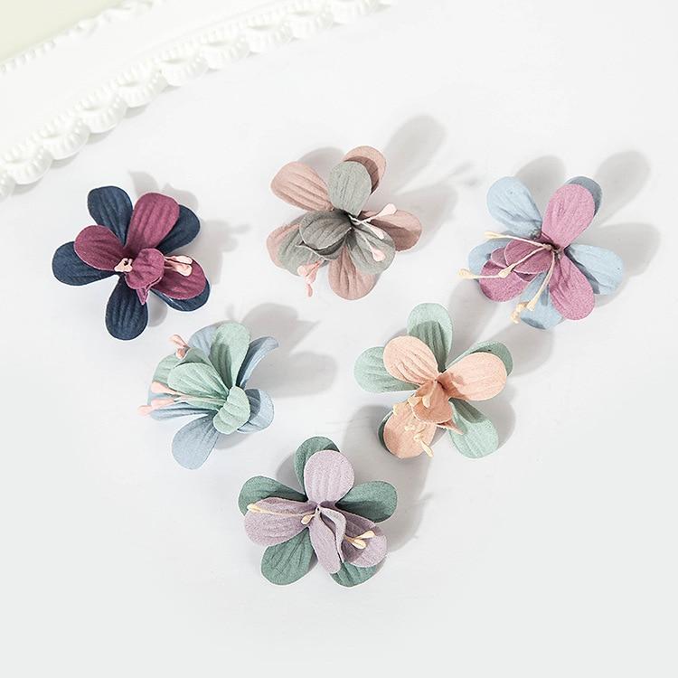 4cm mix color Korean Head Ornament Hair Chiffon Flower Fashion for Clip Hair Accessories with stamen
