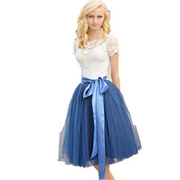 Pretty ladies skirt tulle section belt skirt high waist girl ladies dance skirt knee length custom