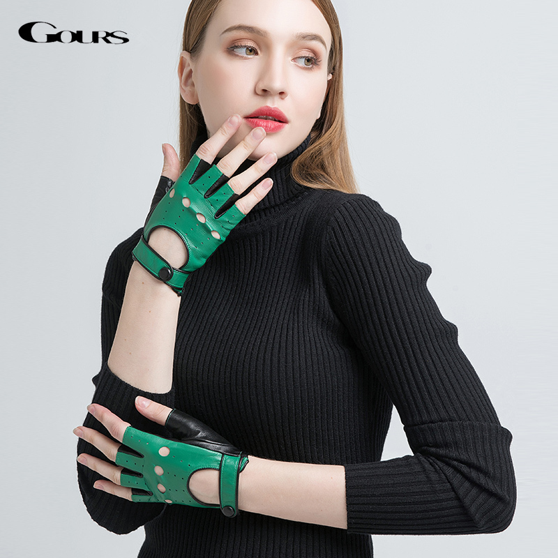 Gours Spring Winter Genuine Leather Gloves Women Hand Fingerless Gloves Fashion Driving Motorcycle Warm Unlined Mittens GSL064