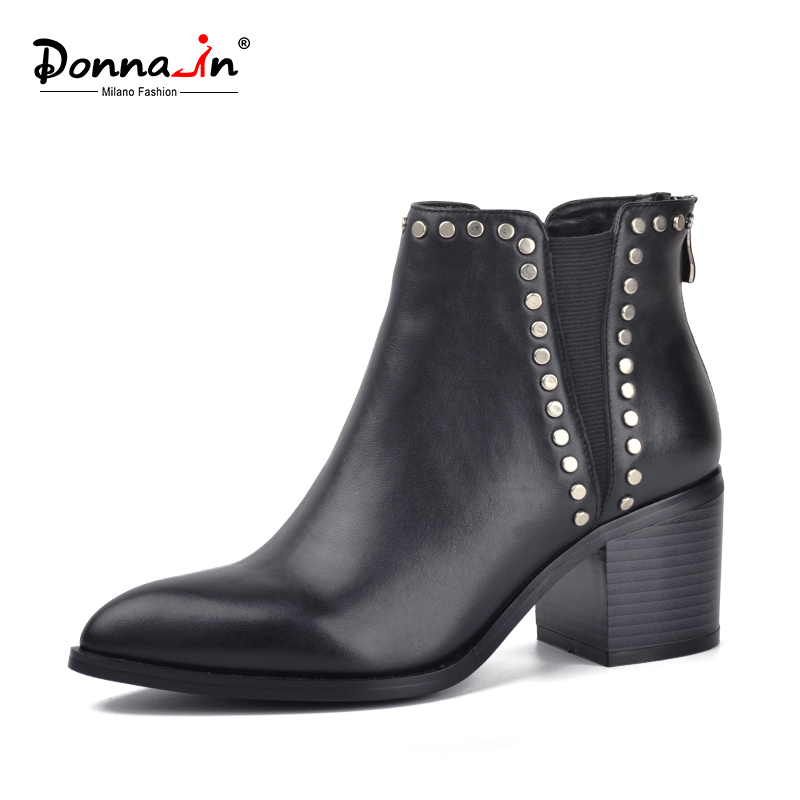 Donna in new styles single ankle boots pointed square heel cow leather women s short boots