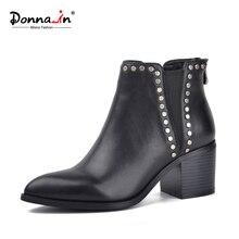 Donna-à new styles simples cheville bottes pointu talon carré en cuir de vache femmes de bottes courtes