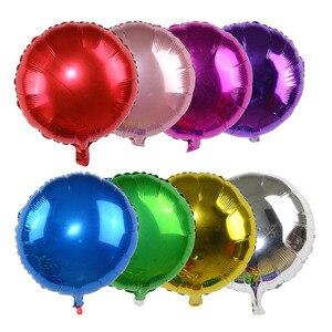 Image 2 - 5 sztuk 18 złoty srebrny balon okrągły ślub balony z folii aluminiowej nadmuchiwane prezent balon urodziny strona dekoracji helu Ball