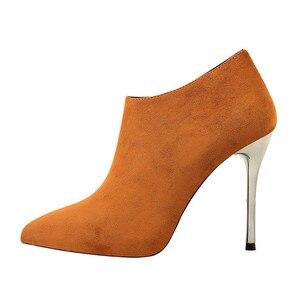 Image 2 - BIGTREE Spitz Metall Ferse Mode Damen Stiefeletten High Heels Schuhe Frauen Solide Flock Seite Zipper Concise Kurze Stiefel