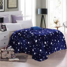 soft Bright stars bedspread blanket many size High Density Super Soft Flannel Blanket to on for the sofa/Bed/Car Portable Plaids(China)