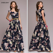 Women printing party dress 2019 Popular sleeveless square collar sexy long vestidos Elegant spring summer