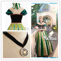 2015 Cartoon Character Princess Cosplay Costume Coronation Party Queen Dress Carnival Women Sexy Costume Anna Embroidery