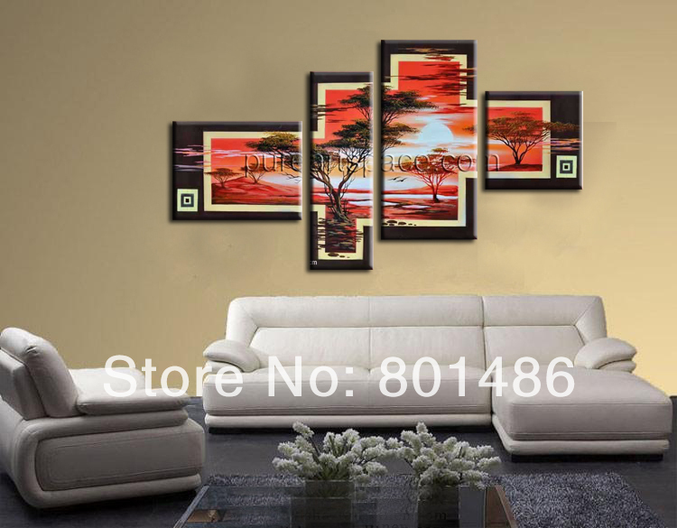 Beautiful Sun Trees Hand Painted Artwork Landscape Oil Paintings on Canvas Wall Art for Living Room Bedroom Home Decorations