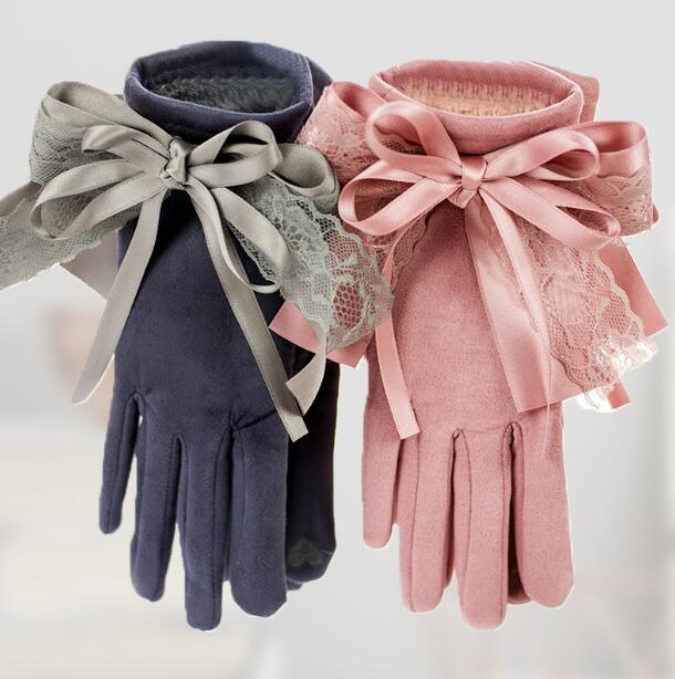 Autumn Winter Women's Faux Suede Leather Touch Screen Driving Gloves Girls Sexy Lace Bow Gloves Thicken Warm Fleece Ling R207