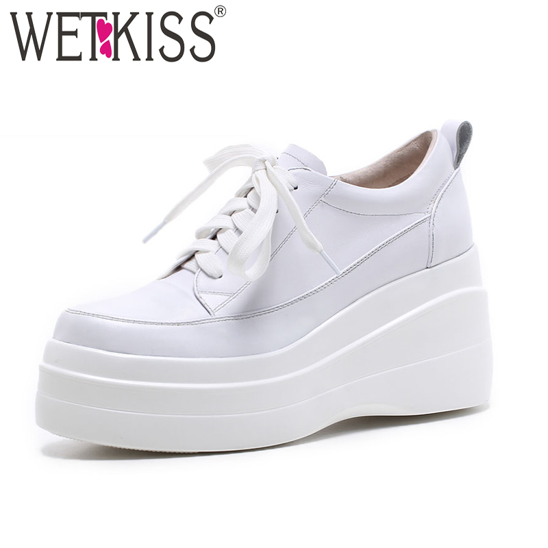 WETKISS 2019 New Casual Flats Women Round Toe Genuine Leather Shoelaces Footwear Platform Spring women Sneakers