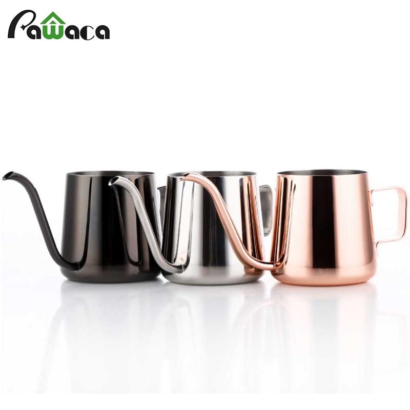 Cafetière à Long bec étroit en acier inoxydable 250/350 ml avec oreille suspendue à main émoussée verser sur une bouilloire à col de cygne Pour le thé au café