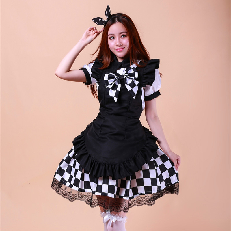 high quality Black and white plaid maid costume Halloween ...