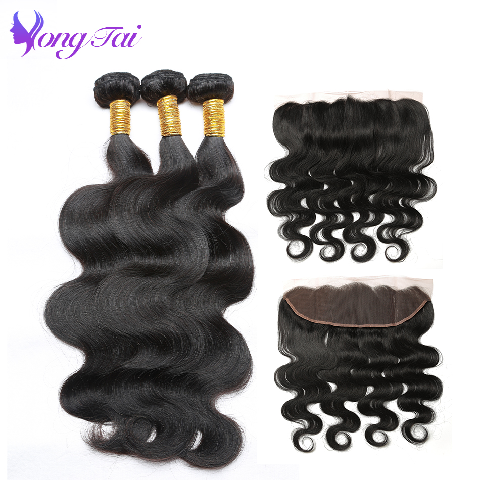 Brazilian Body Wave Ear To Ear Frontal With 3 Bundles Non Remy Hair Extension 8-28 Brazilian Hair Weave Bundles With Frontal