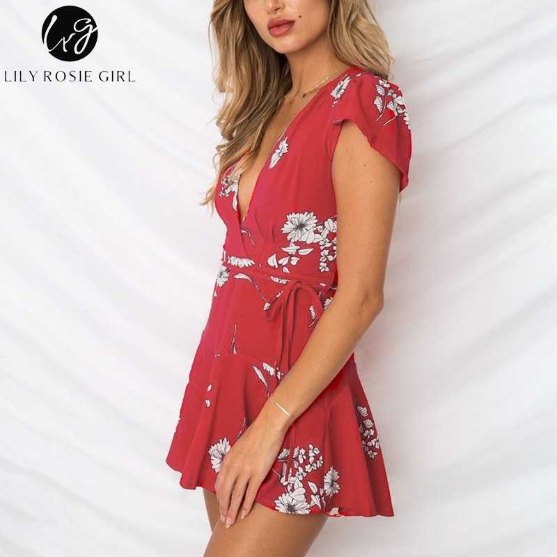 4c87c3a05f2f ... Lily Rosie Girl Red Floral Print Women Playsuit Sexy V Neck Petal  Sleeve Playsuit Short Beach ...