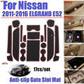 17 teile/satz Für nissan 2011-2016 ELGRAND E52 Tor Slot Pad Non-slip Tasse Matte Matten Anti Slip matte Nut Aufkleber Auto Zubehör