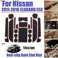 17 unids/set para nissan 2011-2016 ELGRAND E52 alfombrilla para compartimento de puerta tapete antideslizante alfombrilla antideslizante con ranura adhesiva accesorios para coche