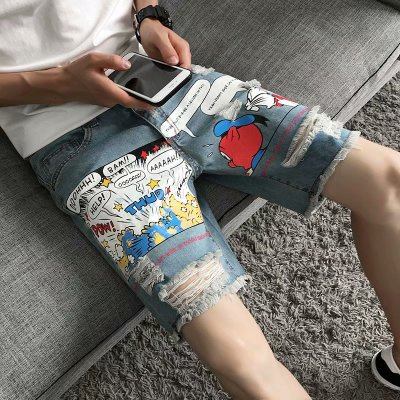 2019 Summer Wash Cartoon Print Hole Five Points Jeans Korean Casual Breathable Denim Pants Students Five-knee Denim Jeans Shorts