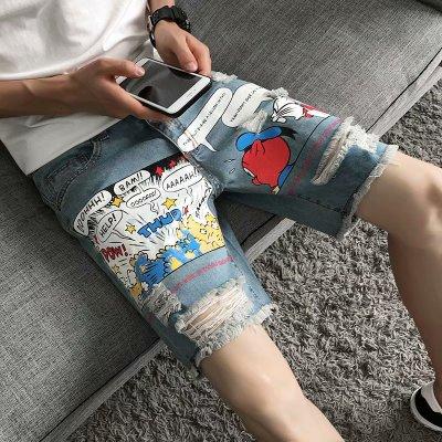 2019 Summer Wash Cartoon Print Hole Five Points Jeans Korean Casual Breathable Denim Pants Students Five-knee Denim Jeans Shorts