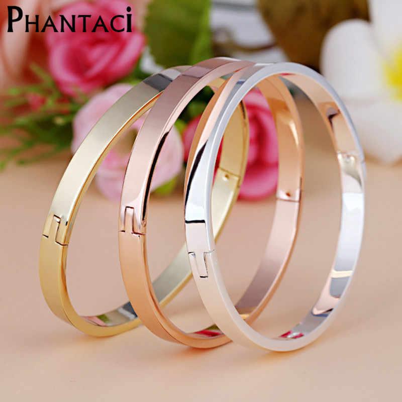 Luxo de Aço Inoxidável Cuff Pulseiras & Bangles Top Da Marca Cor de Ouro CZ Cristal Fivela Amor Charm Bracelet Jóias Para Mulheres hot